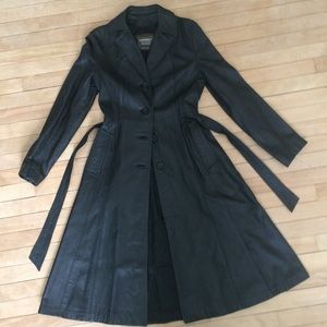 💝BLACK GENUINE LEATHER MAXI TRENCH COAT VINTAGE